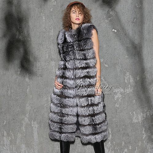 DMGB131B Silver Fox Horizontal Design Fur Gilet
