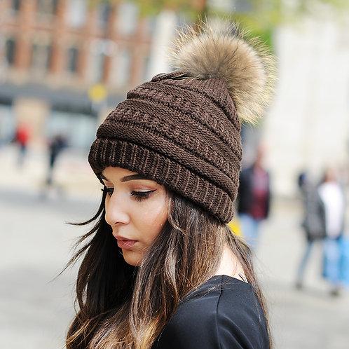 DMC34F  Knit Beanie Hat With Finn Raccoon Pom Pom