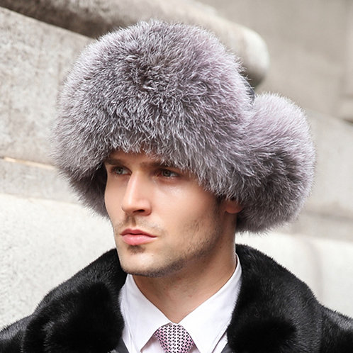 DMC38A Silver Fox Fur and Waterproof Fabric Russian Hat
