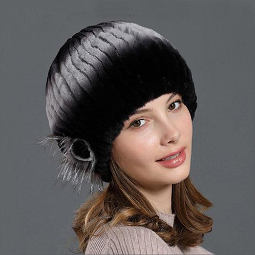 DMC184A Rex Rabbit Fur Beanie Hat / Fur Hat - Christmas gift
