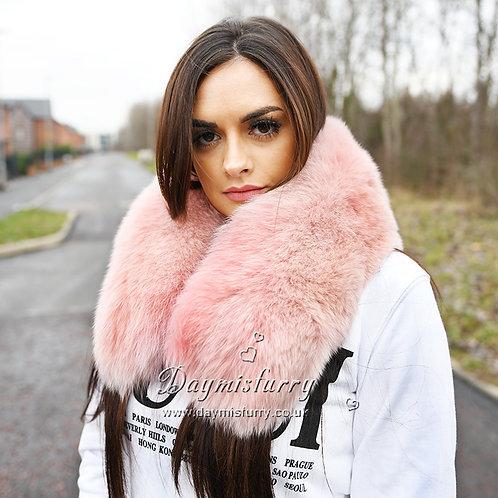 DMA65B Large Detachable Fox Fur Collar - Pink