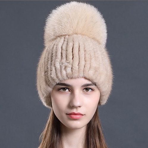 DMC16Q Beige Mink Fur Beanie Hat With Finn Fox Pom Pom