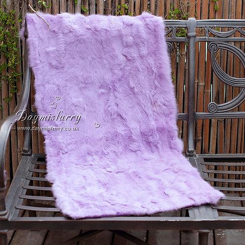 DMD18Q  Patchwork Rabbit Fur Rug in Lilac