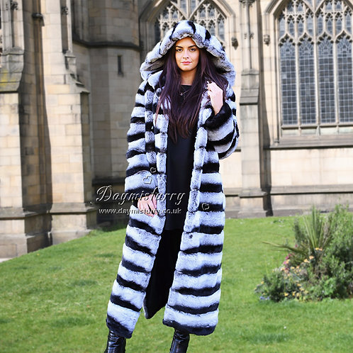 DMGA12 Rex Rabbit Fur Hoody Coat in Chinchilla Print