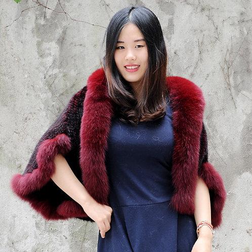 DMBM41F Chic Style Knit Dyed Mink Fur Lady Shawl