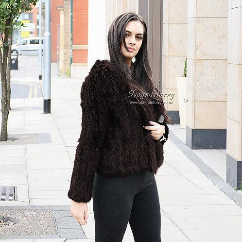 DMGA95C Knitted Rabbit Fur Jacket With Raccoon Fur Trim
