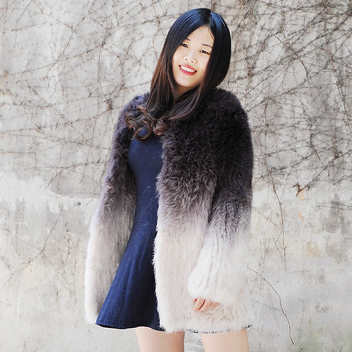 DMGA83A Knitted Rabbit Fur Ombre Lady Sweater Jacket