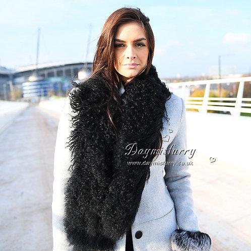 DMS31C Mongolian Lamb Fur Boa Scarf in Black