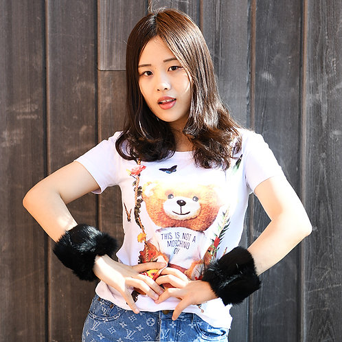 DMA28G Rabbit Fur Slap On Cuff Bracelet
