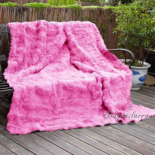 DMD30B Patchwork Rabbit Fur Blanket / Fur Throw