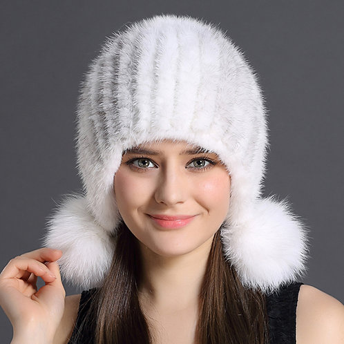 DMC131C Knit Cross Mink Fur Beanie Hat With Fox Fur Pom