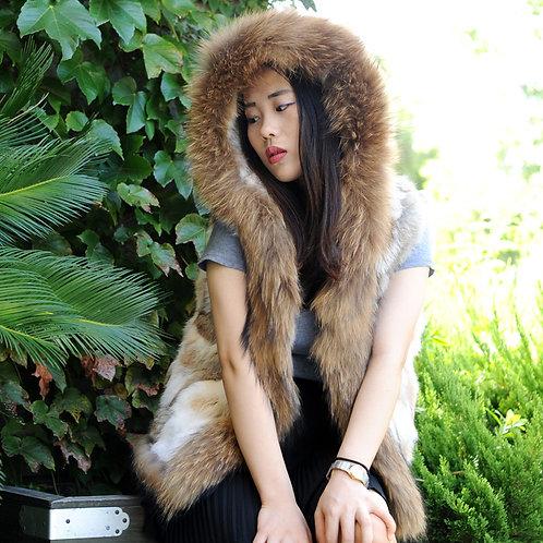 DMGB87 Rabbit fur Hooded Gilet With Premium Raccoon Fur Trim
