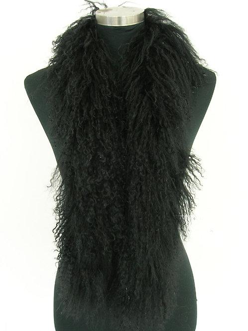 DMS02E Black Mongolia Lamb Fur Boa