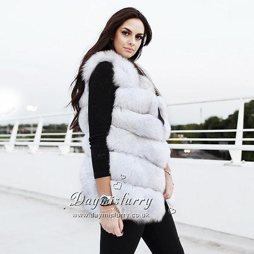 DMGB04M  Horizontal Design Fox Fur Vest
