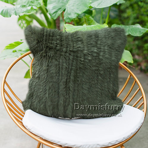 DMD79L Knit  Rabbit Fur Pillow Case / Cushion Cover