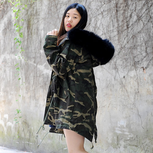 Faux Fur Lined Military Parka with Fox Fur Hood