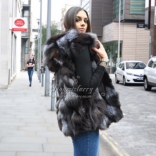 DMGB27 Cropped Silver Fox Hooded Fur Vest