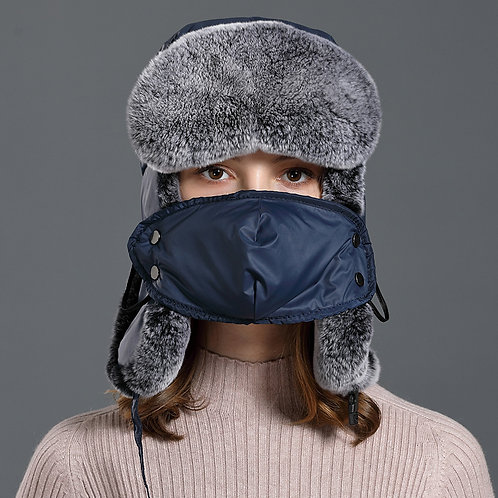 DMC174A Rex Rabbit Fur and Waterproof Fabric Winter Hat with detached mouth mask