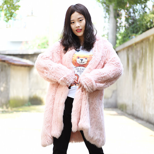 DMGA139E Knitted Rabbit Fur Lady Jacket- Pink
