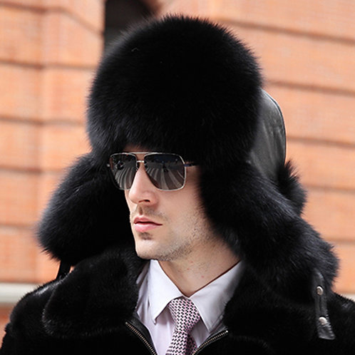 DMC47C Black Fox Fur Trapper Hat