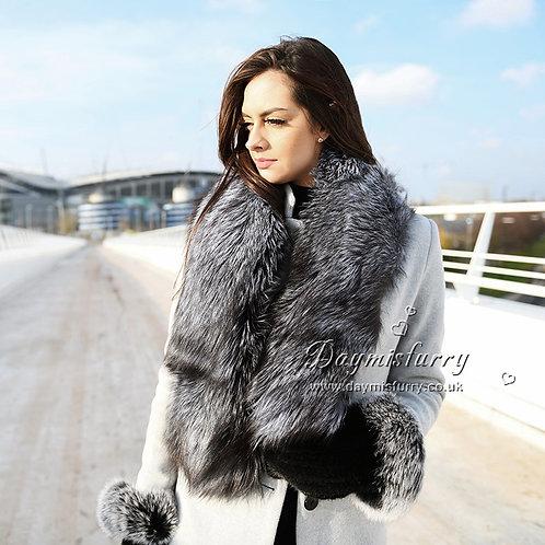 DMS28A Large Silver Fox Fur  Scarf / Fur Collar