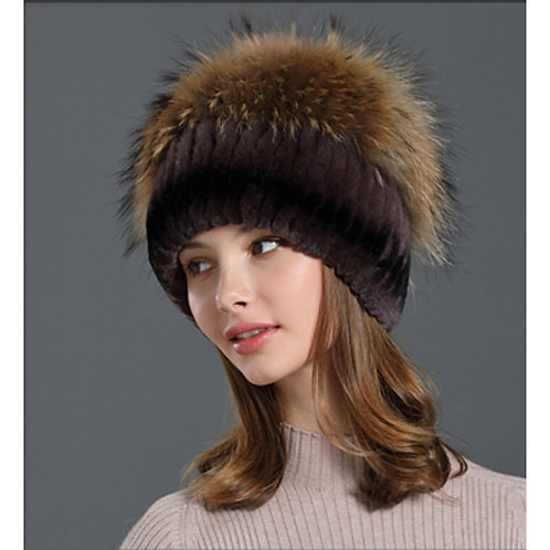 DMC84D  Rex Rabbit Fur Winter Hat With Raccoon Fur Top