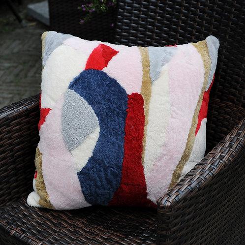 DMD97D  Patch Work Shearing Sheep Fur Pillow / Cushion Case