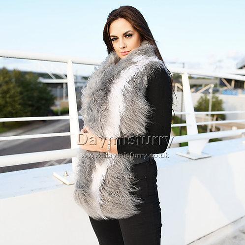DMS178C Grey and White Mongolia lamb Fur Wrap