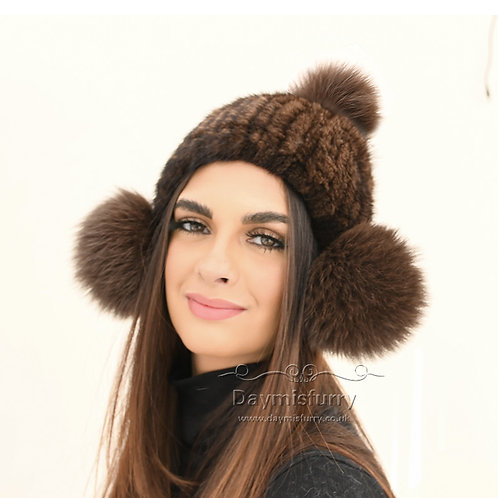 DMC131A Knit Mink Fur Beanie With Fox Fur Pom