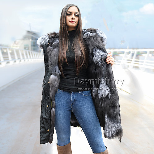 DMGP36 Silver Fox Fur Lined Parka Coat, Real Fur Coat, Winter Coat