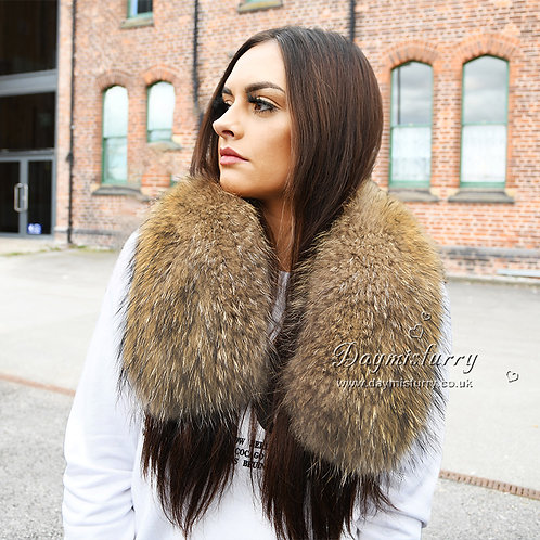 DMA49A Large Detachable  Raccoon Fur Collar