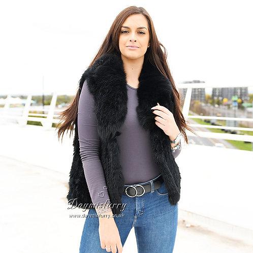 DMGB250B Knit Rabbit Fur Gilet With Fox Fur Collar