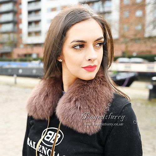 DMA77A Fox Fur Collar with Ribbon Tie