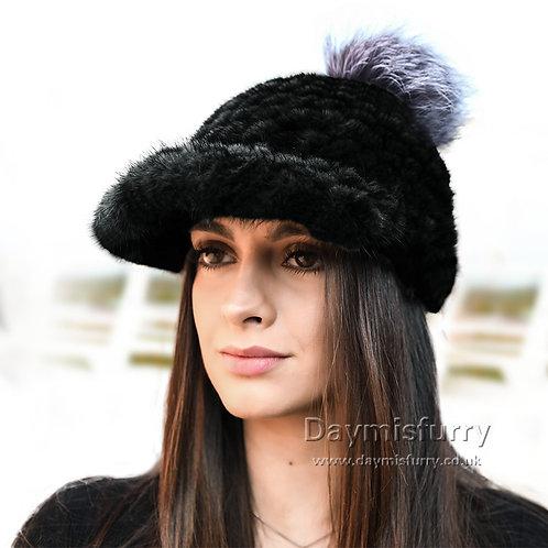 DMC85A Mink Fur Trucker Style Hat Fur Hats
