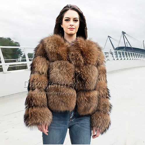 DMGA274 Raccoon Fur Bomber Jacket, Real Fur Coat, Winter Coat