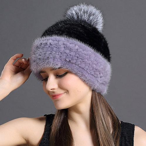 DMC235E Knit Mink Fur Beanie With Fox Fur Pom