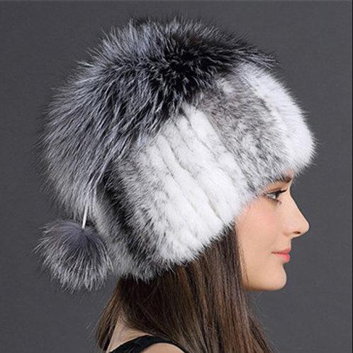 DMC35B Cross Mink Fur Hat With Silver Fox Top