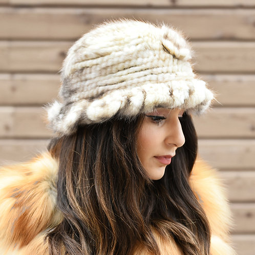 DMC13B Knit Mink Fur Bucket Hat - Sunlight