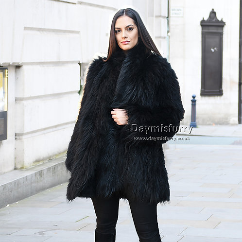 DMGA91B Knitted Raccoon Fur Lady Jacket In Black