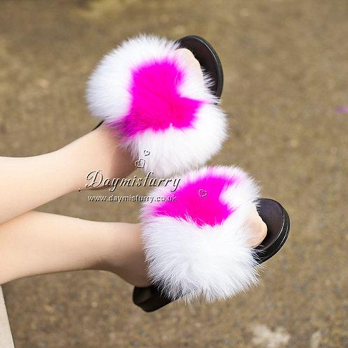 DMA100B  Fox Fur Slides - Rose Heart