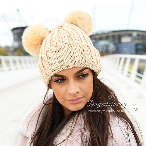 DMC113B  Beige Beanie Hat With Fox Fur Pom Pom