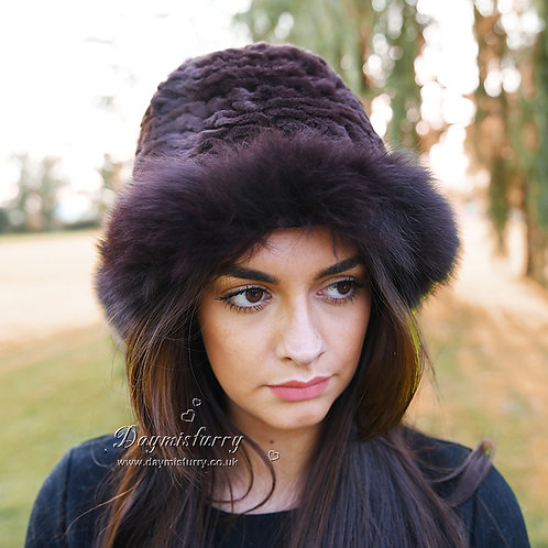DMC02B  Fox Fur Roller Hat with Rex Rabbit Fur Top in Chocolate