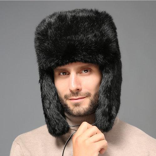 Black Rabbit Fur Russian Hat