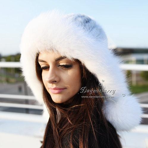 DMC60B Cross Mink Fur Roller Hat Cap with Fox Fur Trim