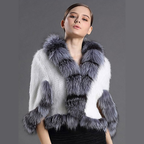 DMBM41G Knit Mink Poncho With Fox Fur Trim