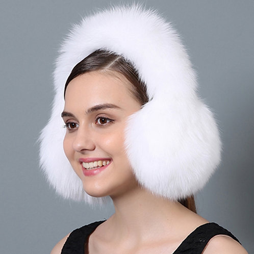 DMA72F White Fox Fur Earmuffs With Matching Fur Band