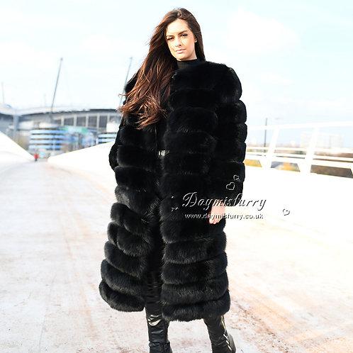 DMGA188B Extremely luxury Fox Horizontal Fur Coat - Black