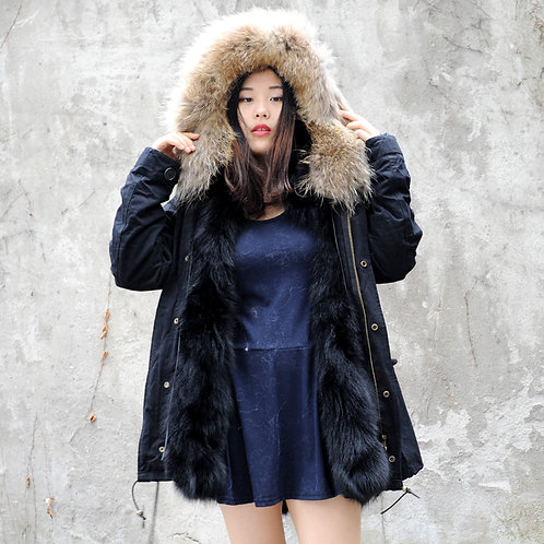 DMGP12M AW18 Black Fox Fur Lined Parka with Raccoon Fur Hood