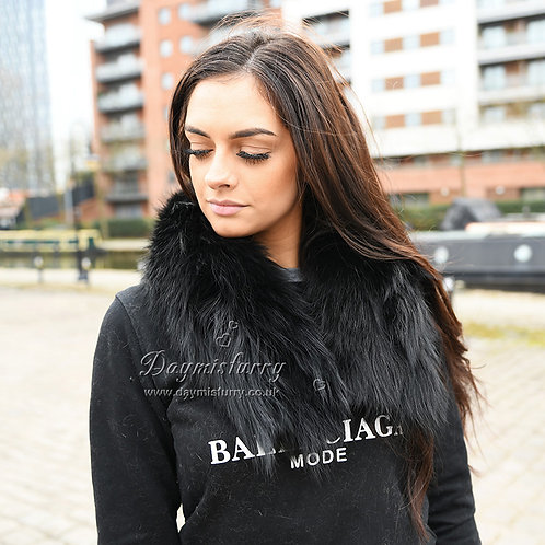 DMA10A Detachable  Raccoon Fur Parka Collar In Black