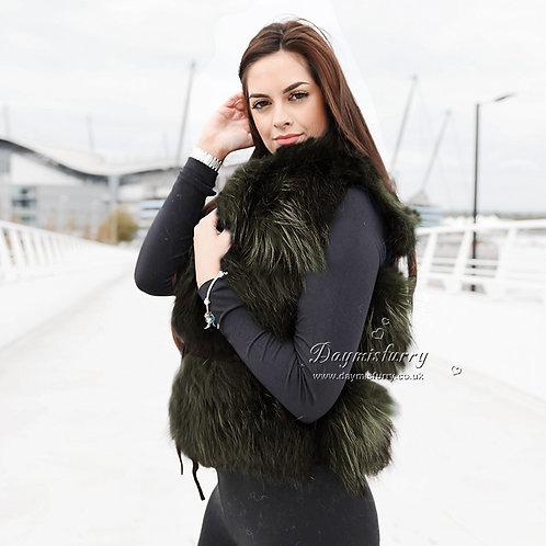 DMGB103E Raccoon Fur Gilet Fur Vest